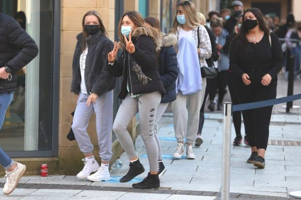 Eager customers queue outside Primark in Cardiff this morning.  Photo: ©Huw Evans Picture Agency